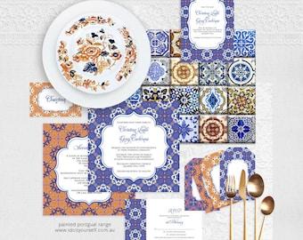 decorative wedding stationery set, invitation suite -diy wedding  printable - portugal spanish tile invite reception or ceremony blue purple