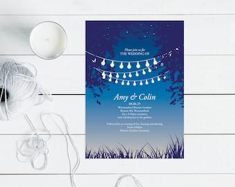 garden party wedding invitation printable digital file, evening outdoor wedding, fairy lights, party lights, sunset trees modern stationery