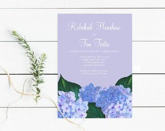 hydrangea wedding invitation, purple floral bridal shower invitation, printable editable birthday invite, diy botanical illustration flowers