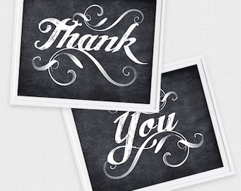 thank you wedding signs printable wedding decorations faux chalkboard thanks photo props 10x8 digital instant download black and white chalk