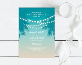 tropical printable wedding invitation digital file beach fairy lights sunset palm tree nights modern diy stationery turquoise destination