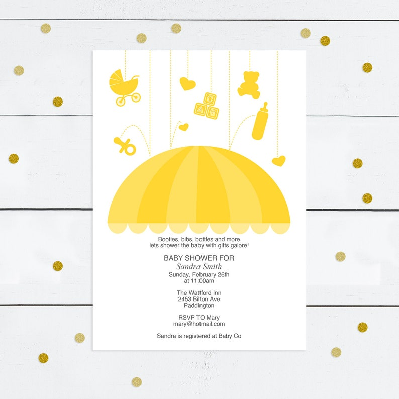 photo regarding Umbrella Printable identify do-it-yourself boy or girl shower invitation template umbrella - printable obtain - child sprinkle invitations, boy or woman, gender impartial, yellow, structure, rain