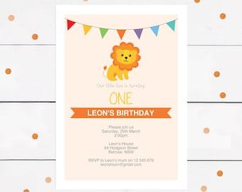 lion invitation lion birthday party invite - PRINTABLE DOWNLOAD, jungle invitation safari invitation, first birthday invitation, baby shower