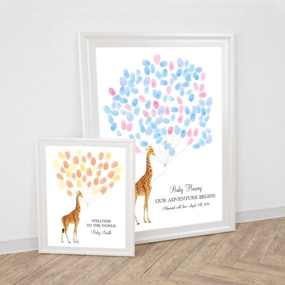 Baby Giraffe Fingerabdruck Gast Buch Ballon Personalisierte Etsy