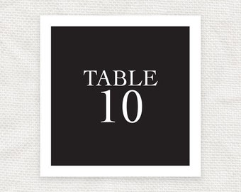 square printable wedding table numbers - downloadable file - table cards, reception decor, table decorations, black & white, classic elegant