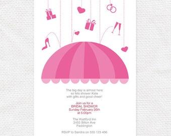 umbrella bridal shower invitation - printable digital download diy - pink modern invite, editable PDF, kitchen shower template, hens party