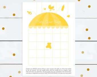 printable baby shower bingo game - instant download - yellow umbrella, baby girl or baby boy, diy print at home, gender neutral, party game