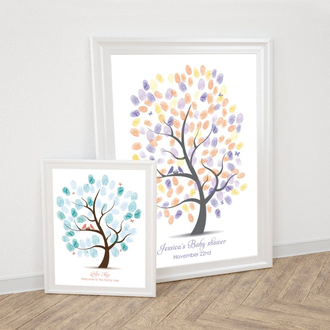 Baby Shower Fingerprint Guest Book Tree Printable Thumbprint