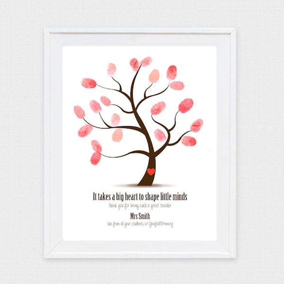 Teacher Appreciation Fingerprint Tree Diy Printable End Of Year Gifts For Teachers Thumbprint Guest Book Fingerprint Tree Retirement Gift