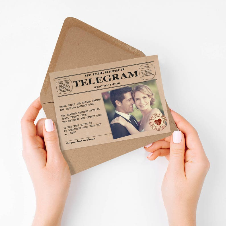 vintage telegram photo save the date or engagement image 0