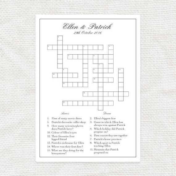 Speziell Angefertigten Hochzeit Kreuzworträtsel Druckbare Datei Brautdusche Spiel Puzzle Empfang Aktivität Personalisierte Hochzeit Spiel