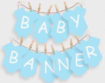 baby shower banner boy blue alphabet - printable download - one piece, decoration, decor, diy, garland, its a boy, bunting, do it yourself