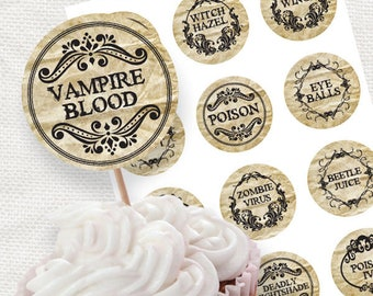 Printable Halloween decor apothecary party circles - Halloween cupcake toppers - download diy, Halloween party, printable stickers