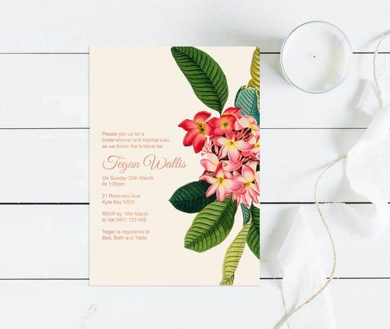 Luau bridal shower invitation plumeria printable etsy image 0 filmwisefo
