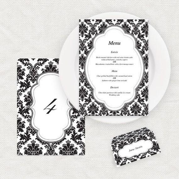 Damask Wedding Reception Decor Templates Printable Table Etsy