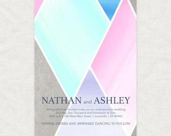 geometric wedding invitation - modern printable urban industrial pastel watercolor diamond shapes graphic city chic stylish - concrete candy