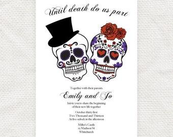 sugar skulls wedding invitation printable file, Dia de los Muertos halloween engagement party invite day of the dead, goth, until death,