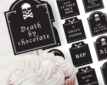 Printable Halloween decor tombstone cupcake toppers - party circles, download diy, Halloween party supplies, decorations, printable stickers