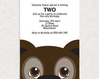 kids party invitation bear - printable file - birthday invitation template, downloadable, diy, grizzly, children, baby shower, illustration