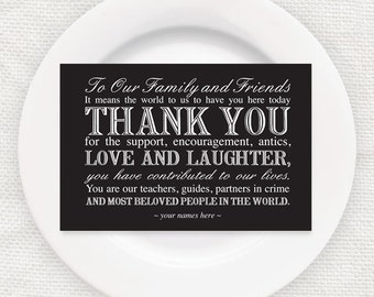 wedding reception thank you card - INSTANT DOWNLOAD - printable thank you template, black & white wedding decor, diy wedding place setting