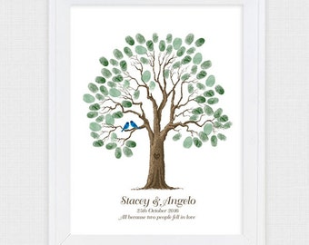 wedding guest book tree - printable file - rustic old oak tree personalized guest sign in thumbprint birds drawn retirement birthday custom