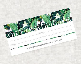 printable gift certificate tropical - christmas business marketing promotion editable pdf file or last minute gift idea, leaves green leaf