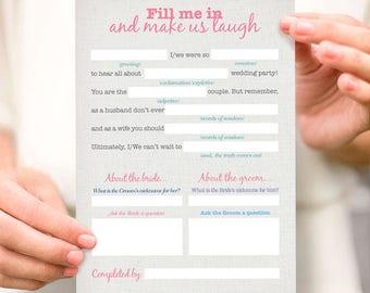 wedding mad lib reception game - printable file - bridal shower game printable party instant download funny wedding make us laugh fun quiz