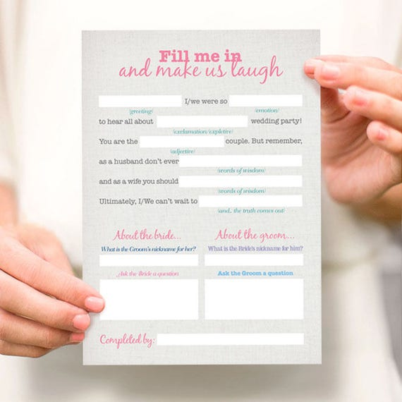 Wedding Mad Lib Reception Game Printable File Bridal Etsy