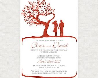 romantic wedding invitation printable, couple illustration heart engagement invite silhouette fall autumn spring summer outdoor tree of love