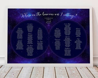 celestial wedding seating chart - printable - constellation star chart seating plan, reception seating, starry night sky, stars zodiac space