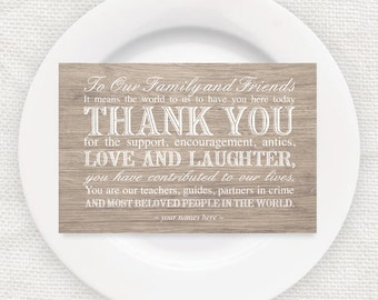 rustic wedding reception thank you card faux wood effect - instant download printable - wooden place setting thanks woodland reception decor