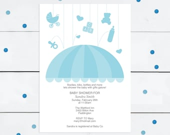 baby boy printable shower invitation template umbrella - diy download - baby sprinkle invites, blue, design, rain, editable, do it yourself
