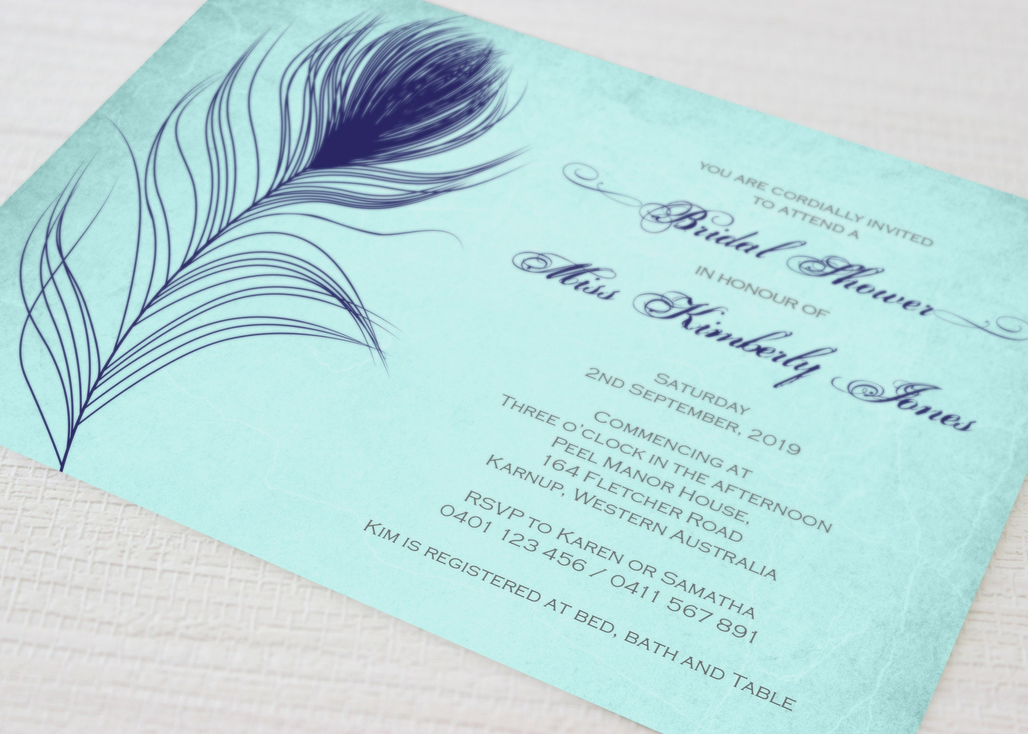 bridal shower invitation peacock feather custom printable