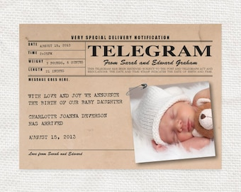 baby birth announcement vintage telegram style - printable - new baby girl or boy, personalized custom, rustic, digital, photo card, message