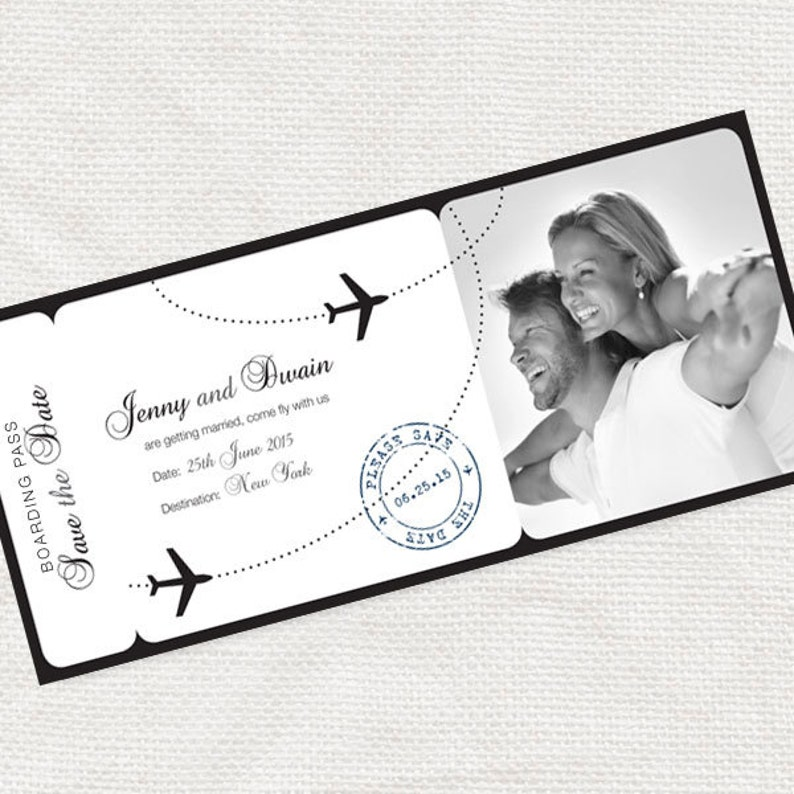 printable save the date boarding pass photo card digital file image 0