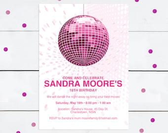 disco diva teen birthday party invitation - printable file - milestone birthday 30th 40th teenage child dance party disco ball pink glitter