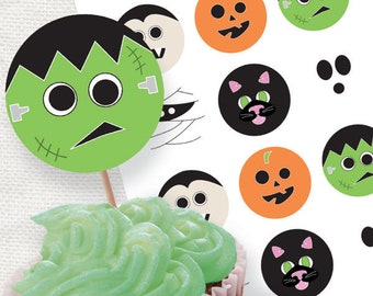 Printable Halloween decor creepy characters party circles - Halloween cupcake toppers - download diy, Halloween party, printable stickers