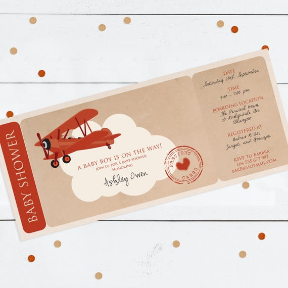 Precious cargo baby shower boarding pass invitation etsy image 0 filmwisefo