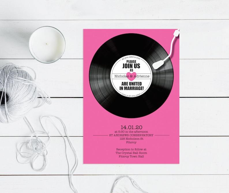 Record Wedding Invitation Printable Music Themed Wedding Etsy