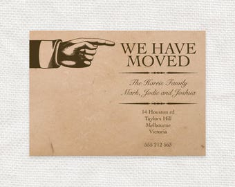 vintage custom moving announcement postcard printable - new home, new address, we've moved, change of address, custom moving card, diy retro