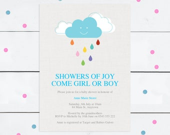 baby shower invitation instant download printable file - cloud rain colourful pretty, baby girl or baby boy gender neutral - showers of joy