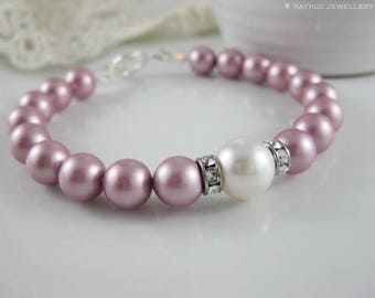Kate - Dusty Pink Pearl Bracelet - Powder Rose Pearl Jewelry created with Pearls and crystals from Swarovski®