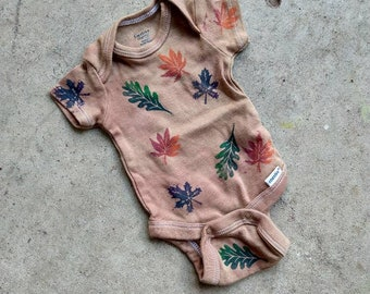 Gardening Nature Short Sleeved Cotton Baby Onepiece With Dragon Fly Bugs Rust Orange Baby Bodysuit Hand Screenprinted Infant Snapsuit