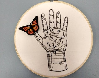 Palmistry and 3D Embroidered Monarch Butterfly Hooped Wall Art