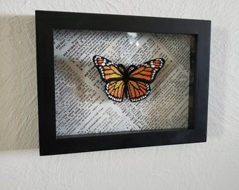 Framed 6x8 3D embroidered framed shadow box Monarch Butterfly specimen