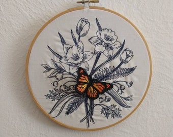 3D embroidered monarch butterfly and daffodil wall art