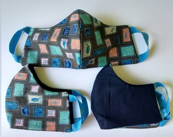 Fabric face mask PPE washable reusibe navy blue stamps mail post office USPS uniform patterned