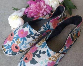 SALE Rifle Paper Co shoes / floral slides / espadrilles / canvas flats / handmade shoes / hand sewn / hemp soles