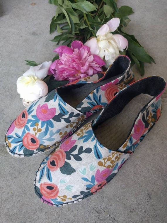 rifle paper co shoes floral slides espadrilles canvas etsy