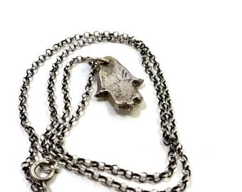 Amulet Series Hand Cast Hamsa Pendant Sterling Silver Necklace
